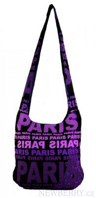 c3c1b8d2e28 Moderní látková crossbody taška PARIS s fialovým potiskem   NEWBERRY ...