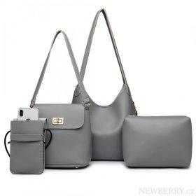 d842ba61b15 Praktický dámský kabelkový set přes rameno 4v1 Miss Lulu šedá ...